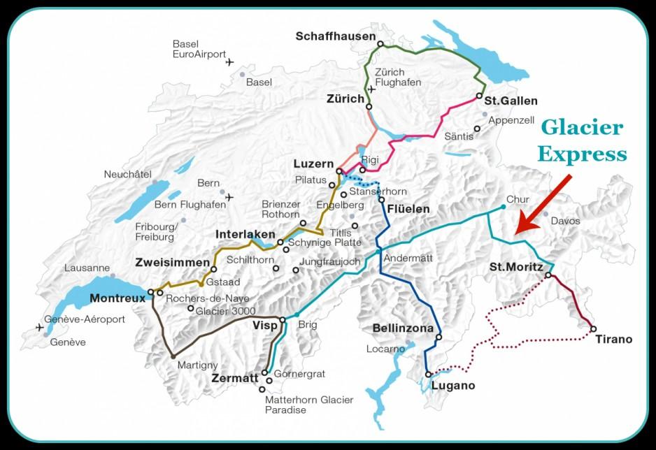 Glacier Express Map Switzerland